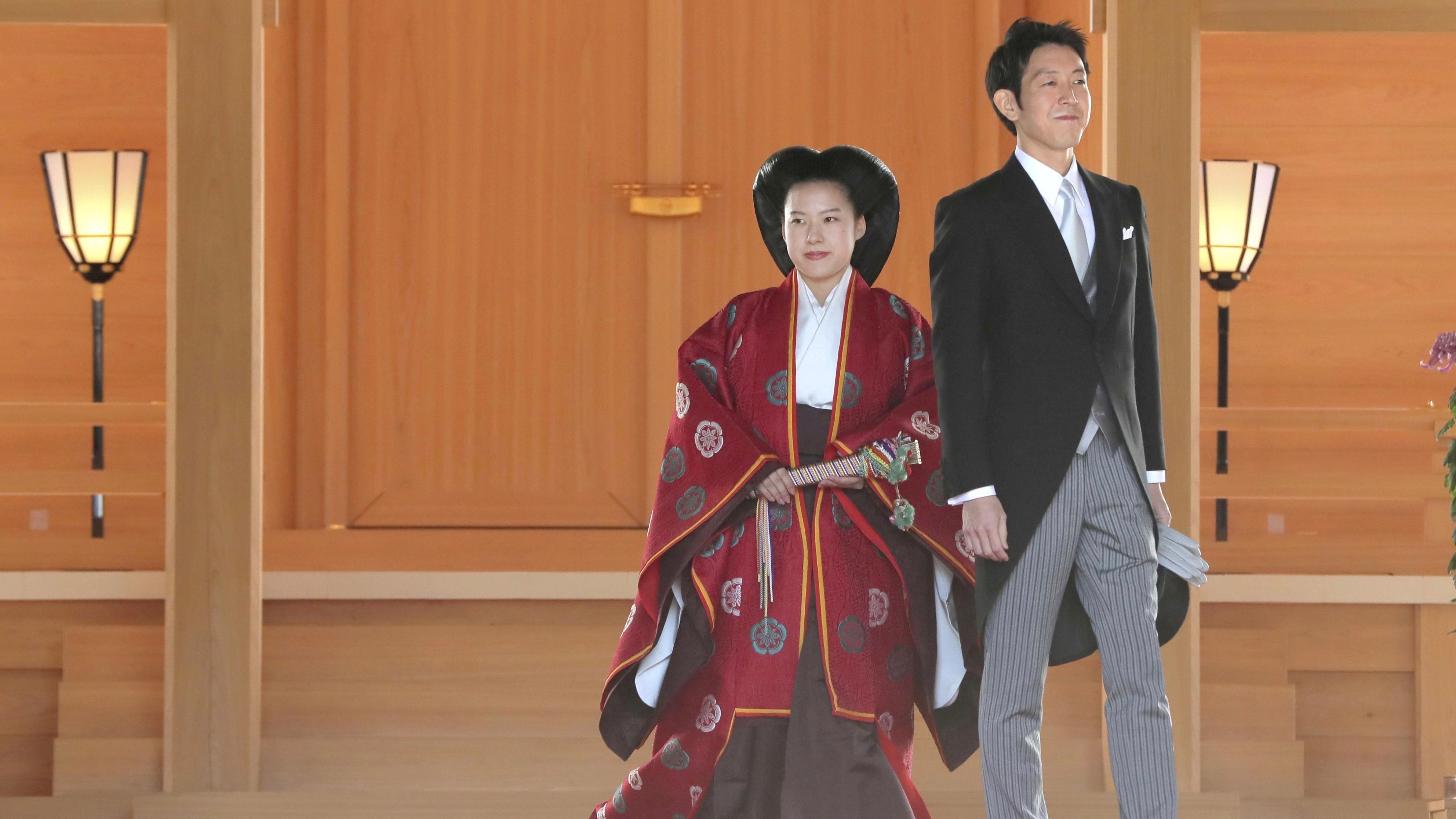 Princess Ayako and her husband Kei Moriya at the Meiji Shrine in Tokyo, Japan.
