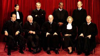 US Supreme Court justices in 1994, with former classmates, O'Connor and Rehnquist, together again.