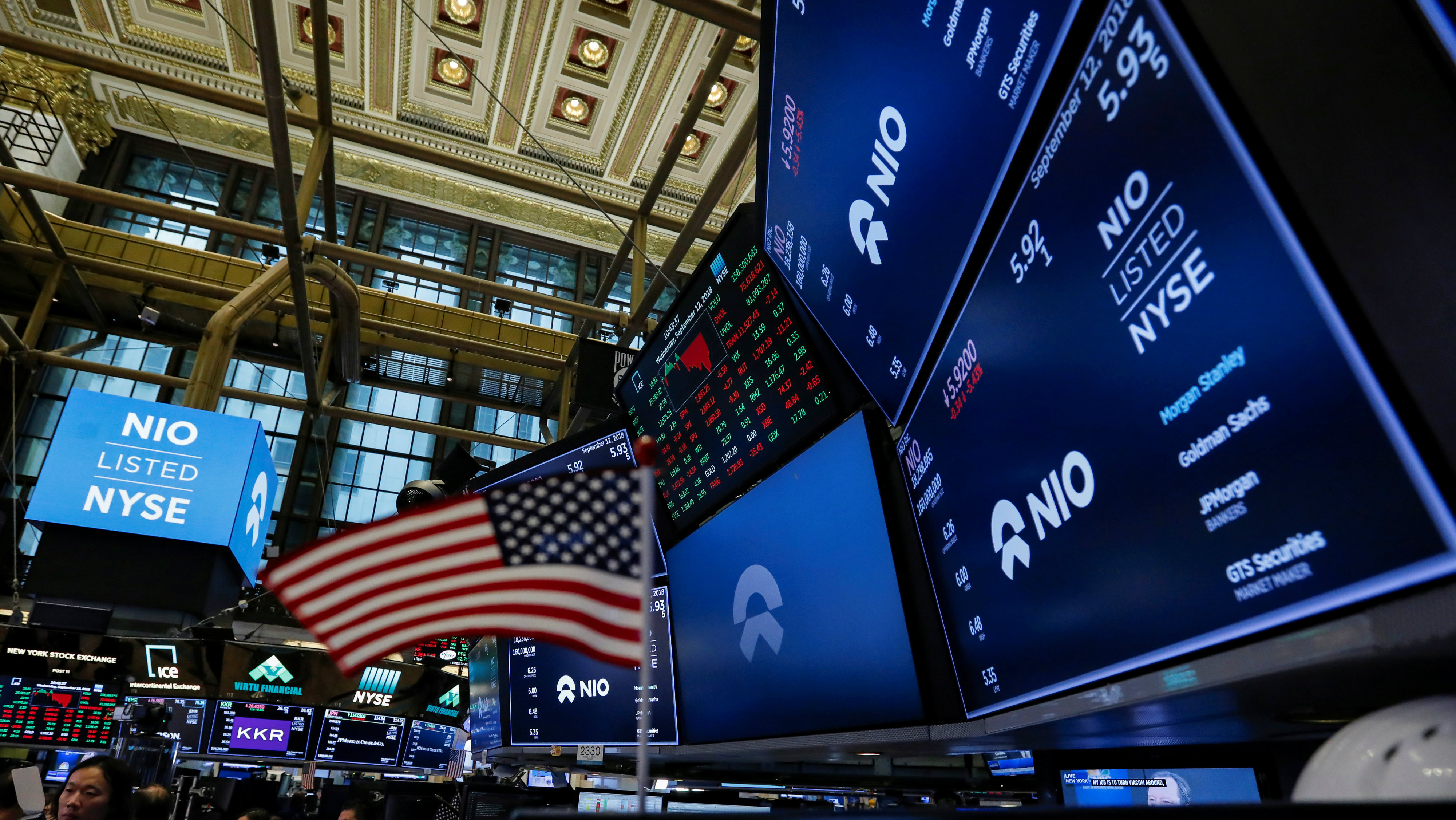 An American flag is seen among logos for Chinese electric vehicle start-up NIO Inc., on the trading floor of the New York Stock Exchange
