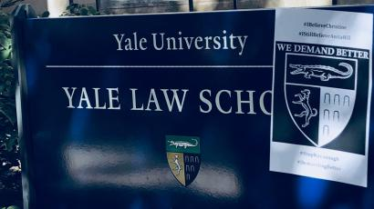 A poster in support of Christine Blasey Fordon a sign on the front lawn of Yale Law School in New Haven, Connecticut.
