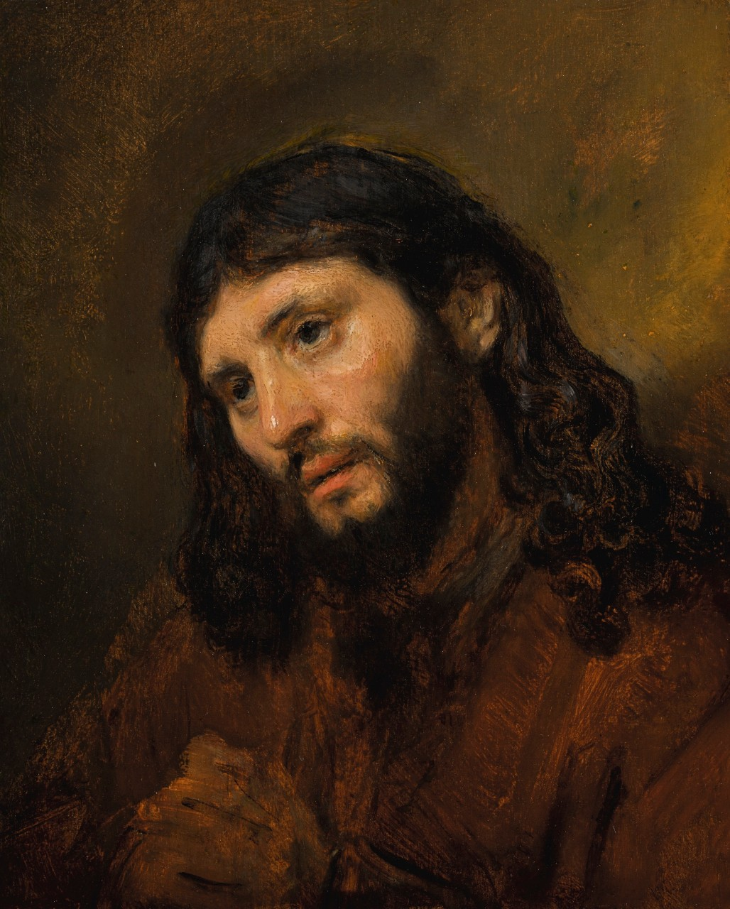 Study of the Head and Clasped Hands of a Young Man as Christ in Prayer by Rembrandt