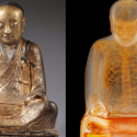 A Buddha statue next to an X-ray showing the remains of a monk inside. Villagers from Yangchun, eastern China, are appealing for the return of the statue, known as the Zhanggong patriarch.