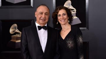 Oligarch Len Blavatnik attends the 2018 Grammys with his wife, Emily Appelson