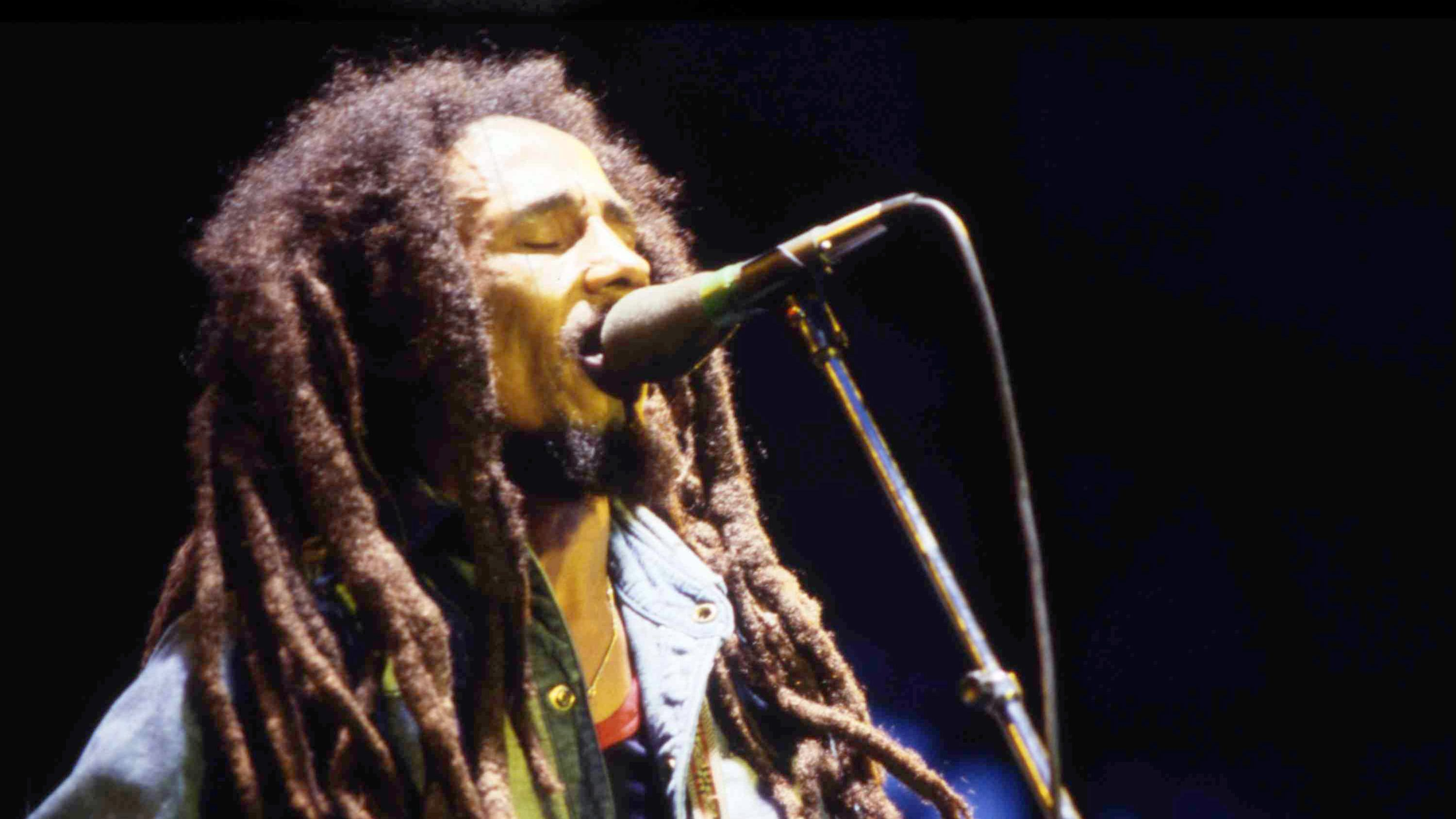 Jamaican Reggae singer Bob Marley performs on stage during a concert in Bourget, Paris, on July 3, 1980. (AP Photo/Str)