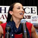 Democrat House candidate Sharice Davids speaks to supporters at a victory party in Olathe, Kan., Tuesday, Nov. 6, 2018. Davids defeated Republican incumbent Kevin Yoder to win the Kansas' 3rd Congressional District seat.
