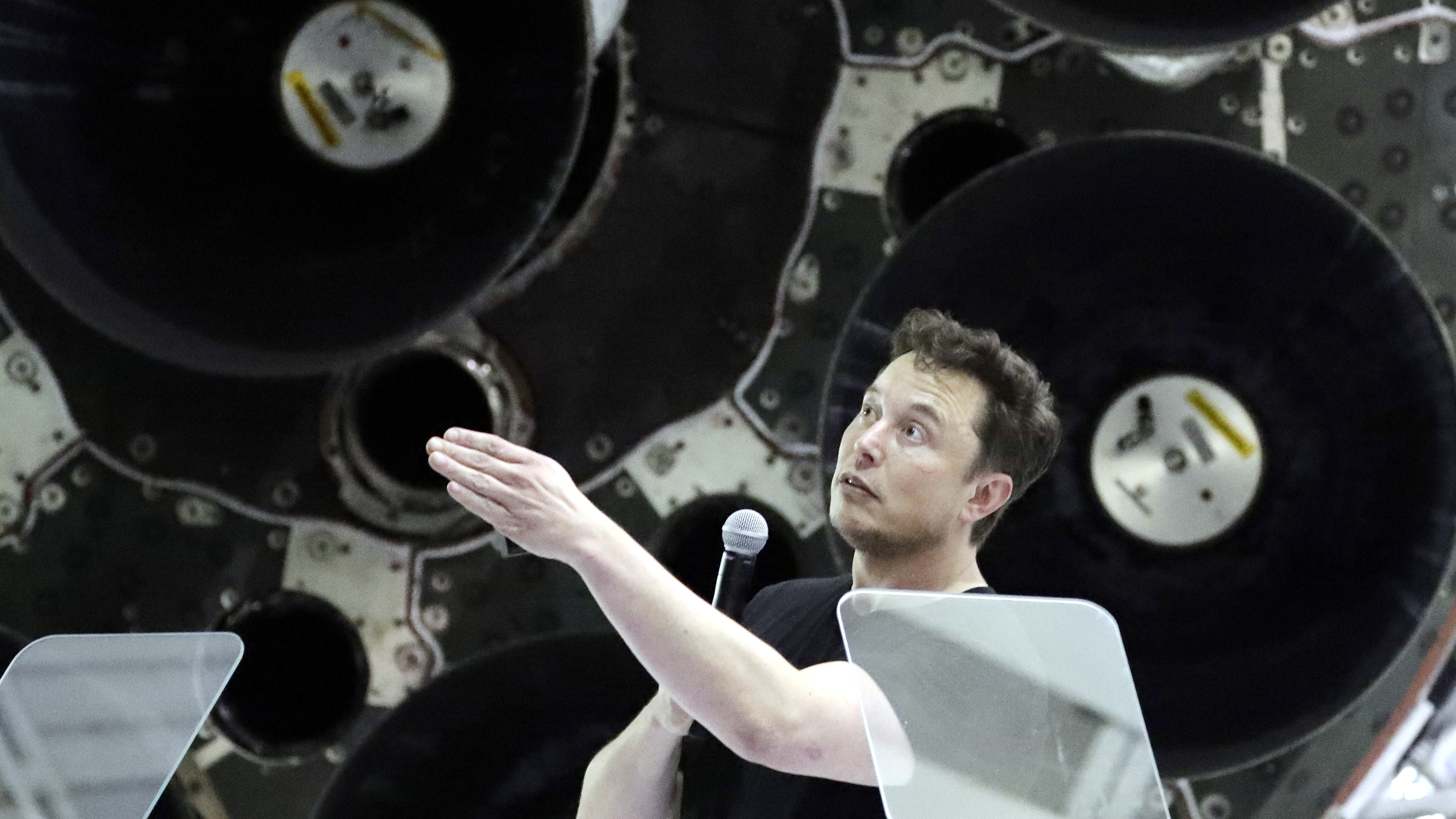 SpaceX founder and chief executive Elon Musk speaks after announcing Japanese billionaire Yusaku Maezawa as the first private passenger on a trip around the moon, Monday, Sept. 17, 2018, in Hawthorne, Calif.