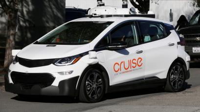 A self-driving GM Bolt EV is seen during a media event where Cruise, GM's autonomous car unit, showed off its self-driving cars in San Francisco, California, U.S. November 28, 2017.