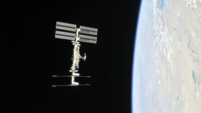 The International Space Station seen orbiting the earth.