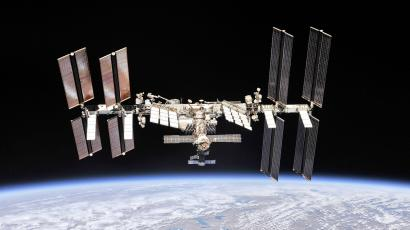 The International Space Station photographed by Expedition 56 crew members from a Soyuz spacecraft after undocking.