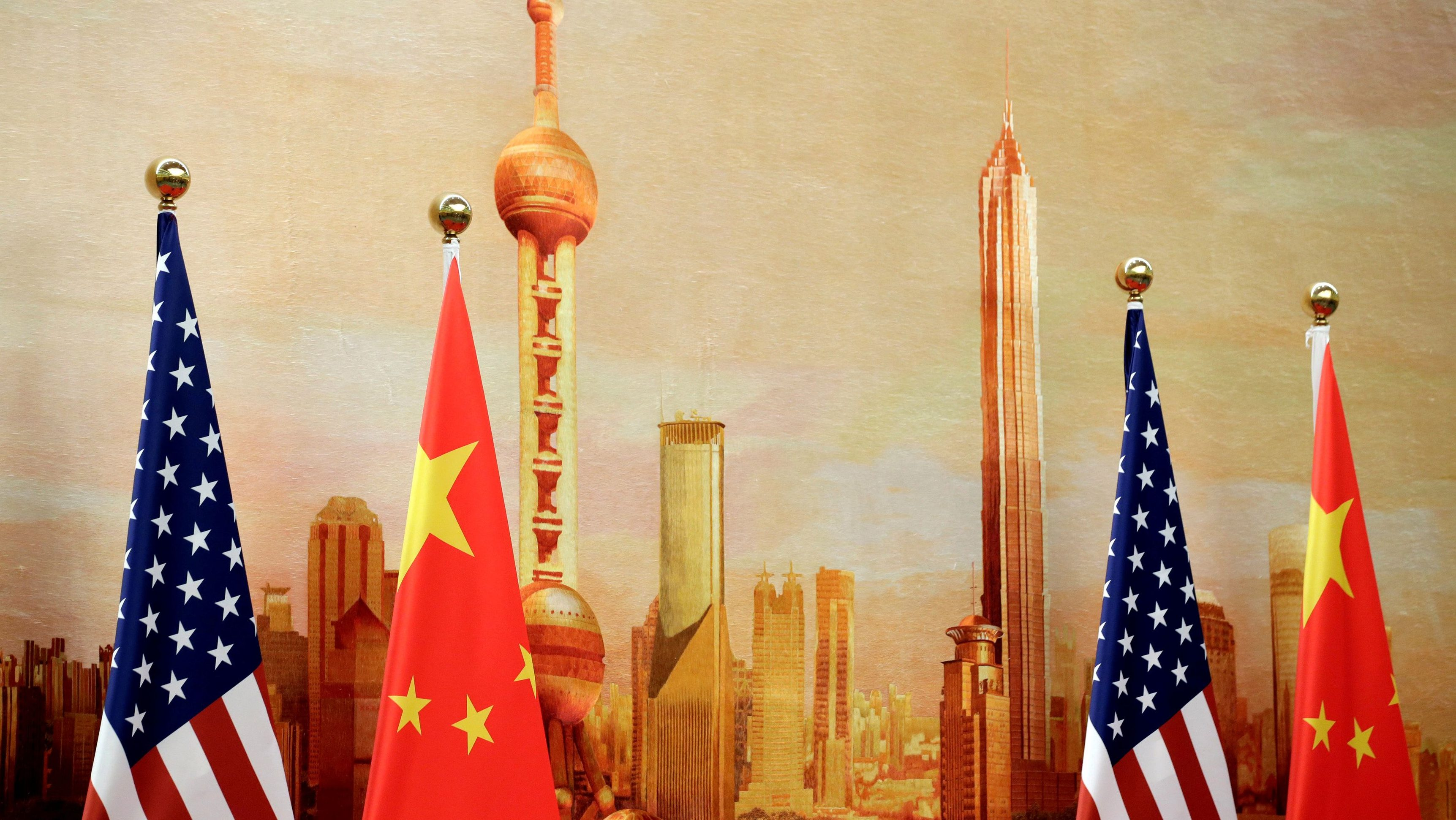 U.S. and Chinese flags are placed for a joint news conference by U.S. Secretary of State Mike Pompeo and Chinese Foreign Minister Wang Yi at the Great Hall of the People in Beijing, China June 14, 2018.