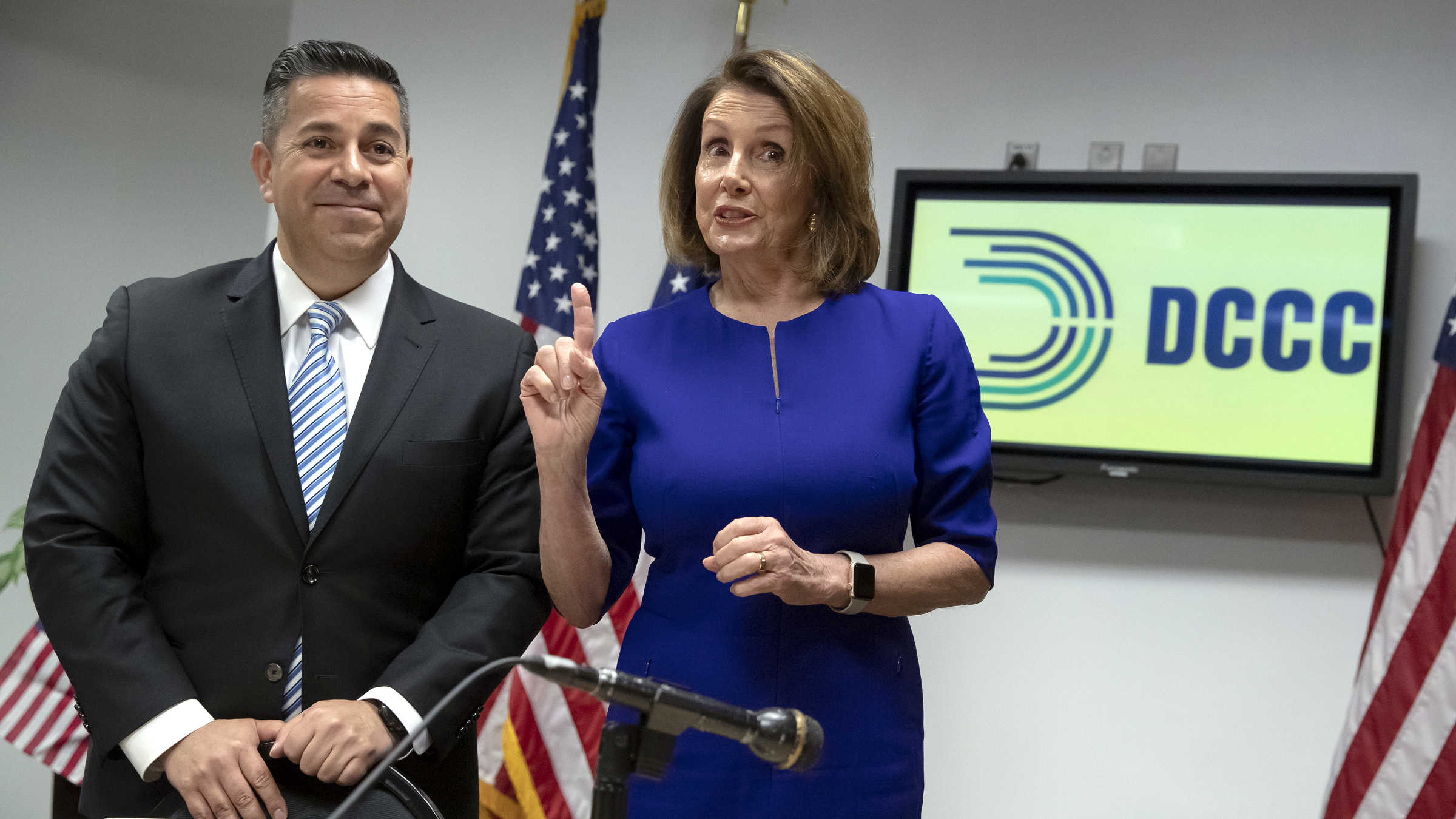 House Democratic Leader Nancy Pelosi of California, center, and Democratic Congressional Campaign Committee Chairman Rep. Ben Ray Lujan, D-N.M., left, meet with reporters on Election Day at the Democratic National Committee headquarters in Washington, Tuesda...</blockquote>