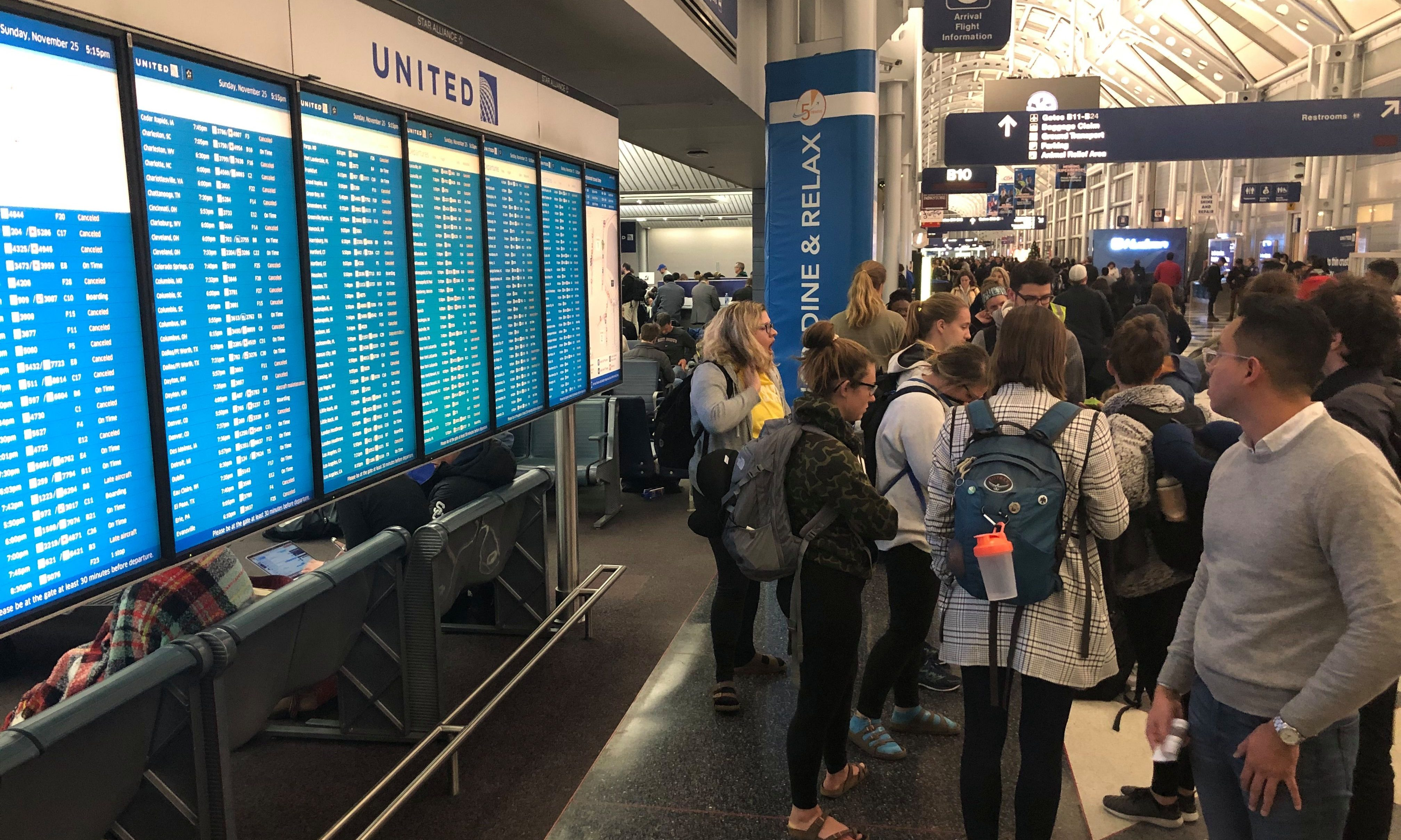 Delayed travelers at Chicago O'Hare Airport amid the storm