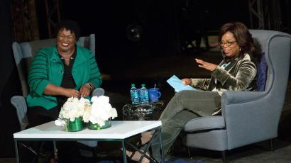 Oprah Winfrey takes part in a town hall meeting with Democratic gubernatorial candidate Stacey Abrams.