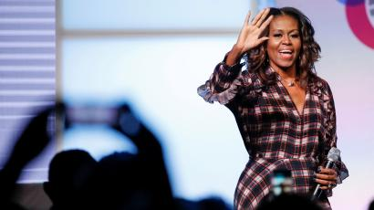 Former First Lady Michelle Obama arrives on stage in Chicago, Illinois, U.S. November 1, 2017.