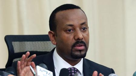 Ethiopia's Prime Minister, Abiy Ahmed addresses a news conference in his office in Addis Ababa, Ethiopia August 25, 2018.