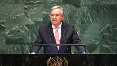 United Nations Secretary General Antonio Guterres delivers the opening address at the 73rd session of the United Nations General Assembly at U.N. headquarters in New York, U.S., September 25, 2018.