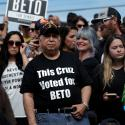 Supporters of U.S. Rep. Beto O'Rourke (D-TX), candidate for U.S. Senate