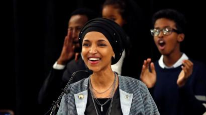 Democratic congressional candidate Ilhan Omar reacts after appearing at her midterm election night party in Minneapolis, Minnesota, U.S. November 6, 2018.