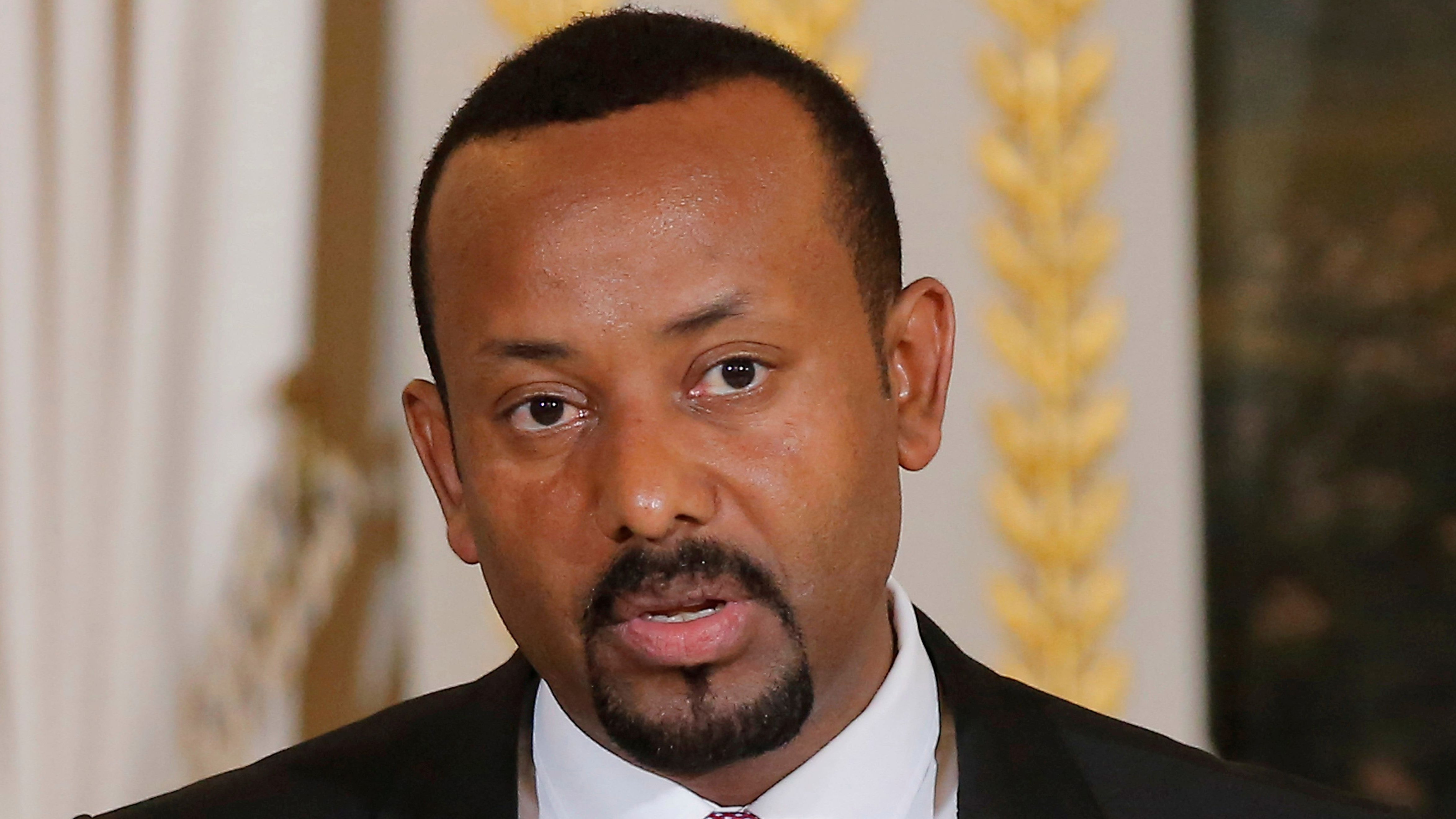 FILE PHOTO: Ethiopian Prime Minister Abiy Ahmed speaks during a media conference at the Elysee Palace in Paris, France, October 29, 2018.