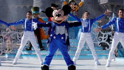 Disney character Mickey Mouse attends the 25th anniversary of Disneyland Paris at the park, in Marne-la-Vallee, near Paris