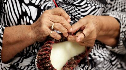A woman takes part in a knitting class for seniors in Ciudad Juarez, Mexico.
