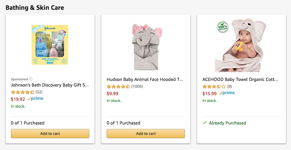 Expecting parents with Amazon baby registries are getting some unexpected gifts.