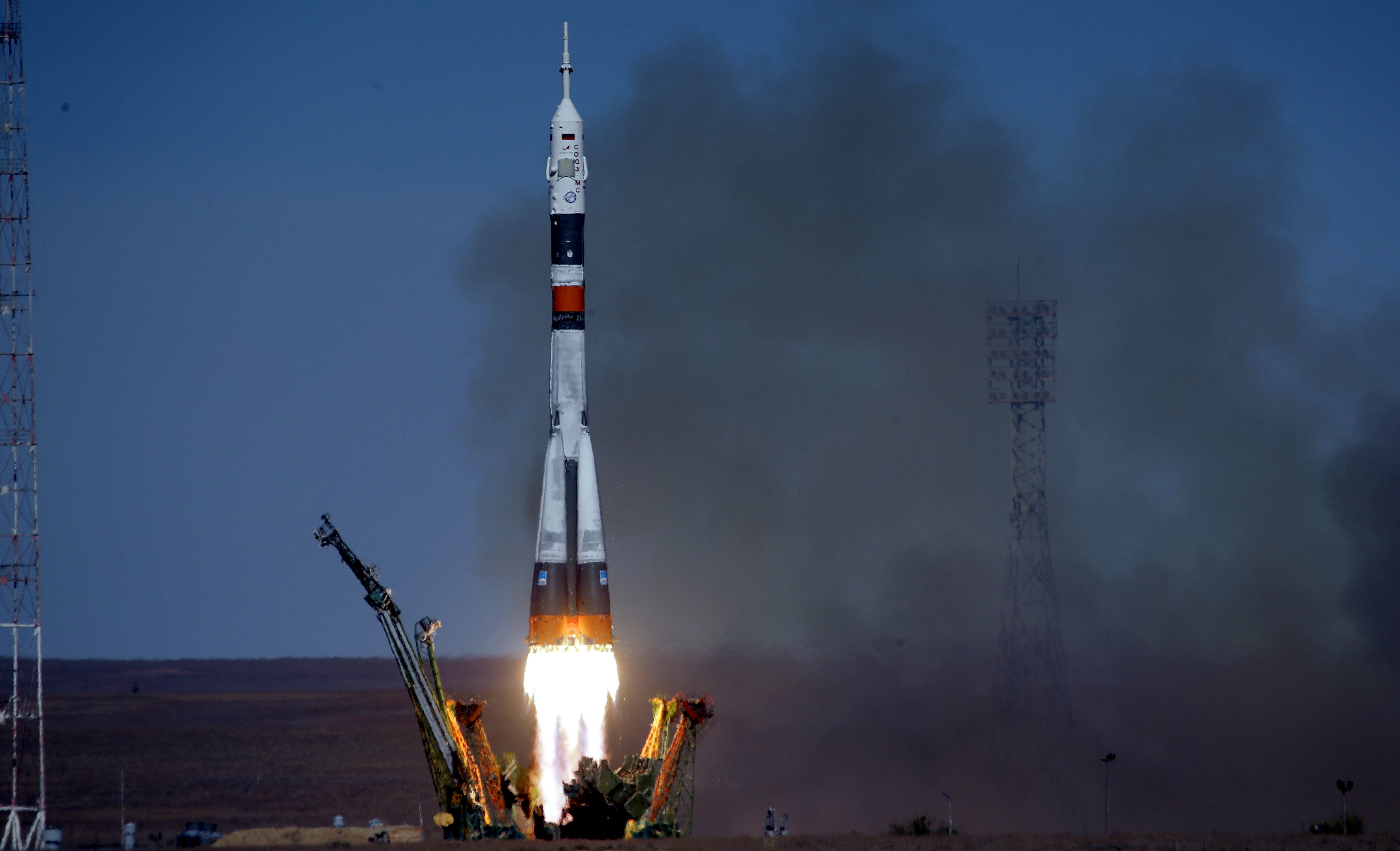 The Soyuz-FG rocket booster with Soyuz MS-10 space ship carrying a new crew to the International Space Station, ISS, blasts off at the Russian leased Baikonur cosmodrome, Kazakhstan, Thursday, Oct. 11, 2018. Two astronauts from the U.S. and Russia are making an emergency landing after a Russian booster rocket carrying them into orbit to the International Space Station has failed after launch.