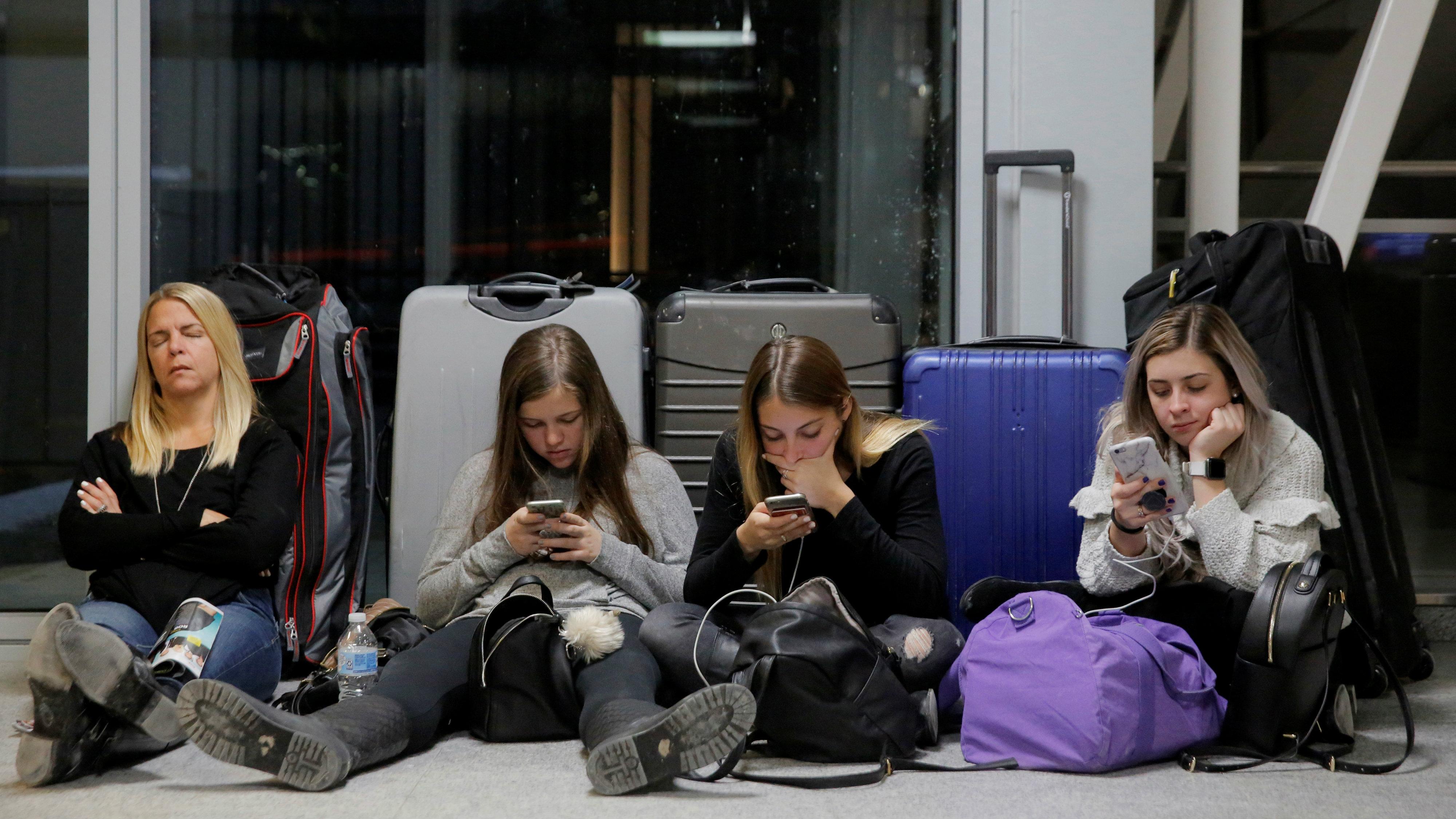 Stranded airline passengers.