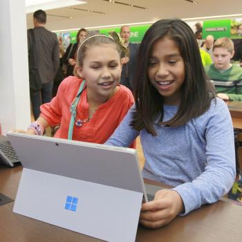 Students from Knollwood Middle School in Fair Haven, New Jersey, participate in the Minecraft Hour of Code tutorial at the Microsoft Flagship Store