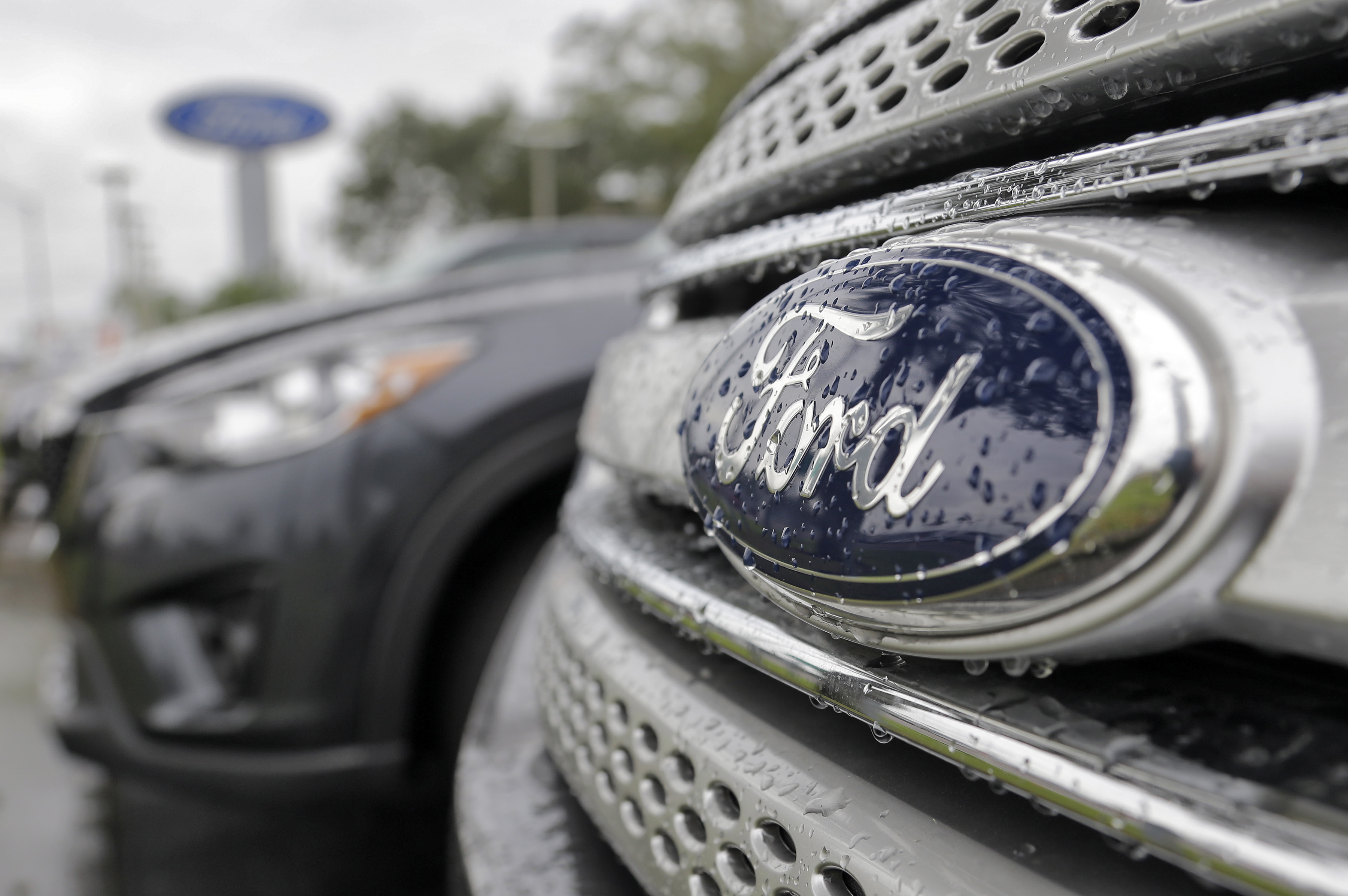 FILE - In this Jan. 12, 2015, file photo, Ford vehicles sit on the lot at a car dealership, in Brandon, Fla. Ford Motor Co. expects its pretax profit to fall in 2017 but improve in 2018 as it invests in emerging businesses. Ford updated its outlook Wednesday, Sept. 14, 2016, at its annual investor day. (AP Photo/Chris O'Meara, File)