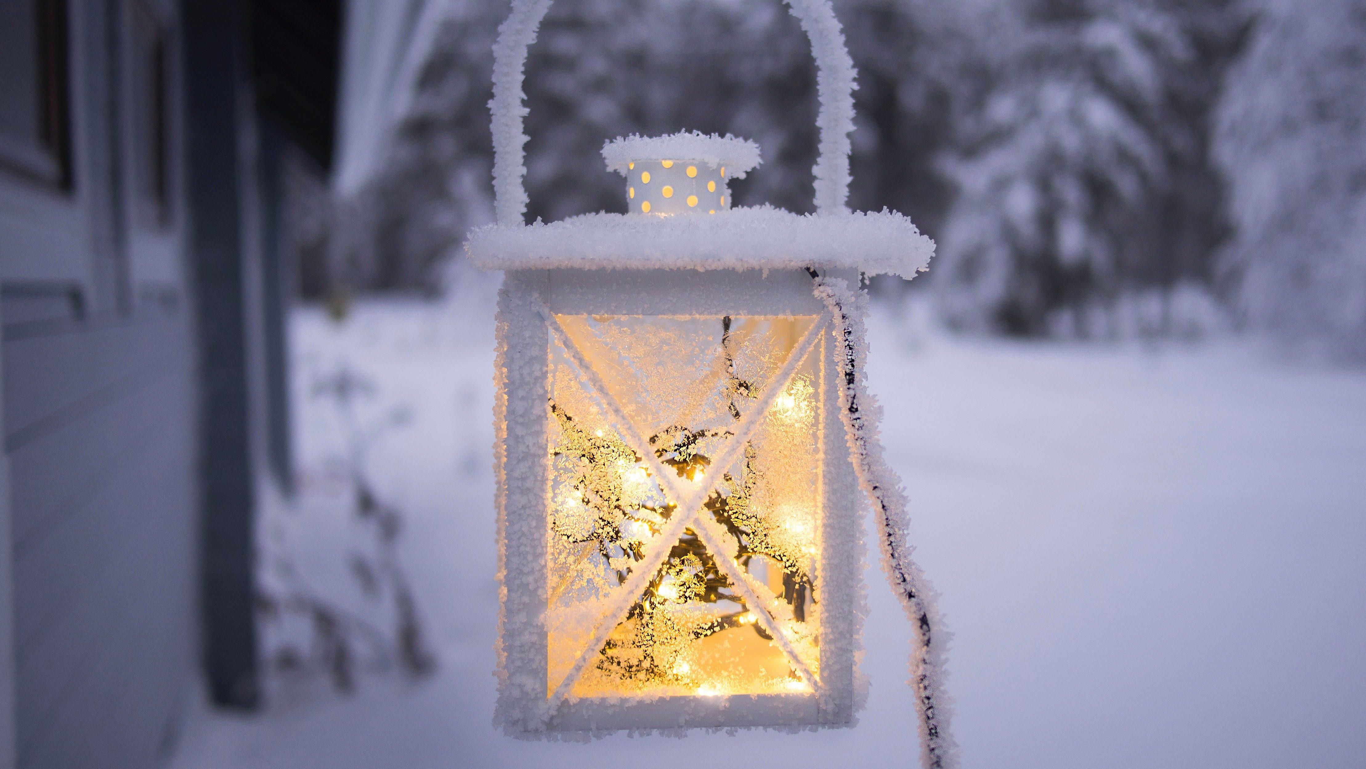 A lantern in snow
