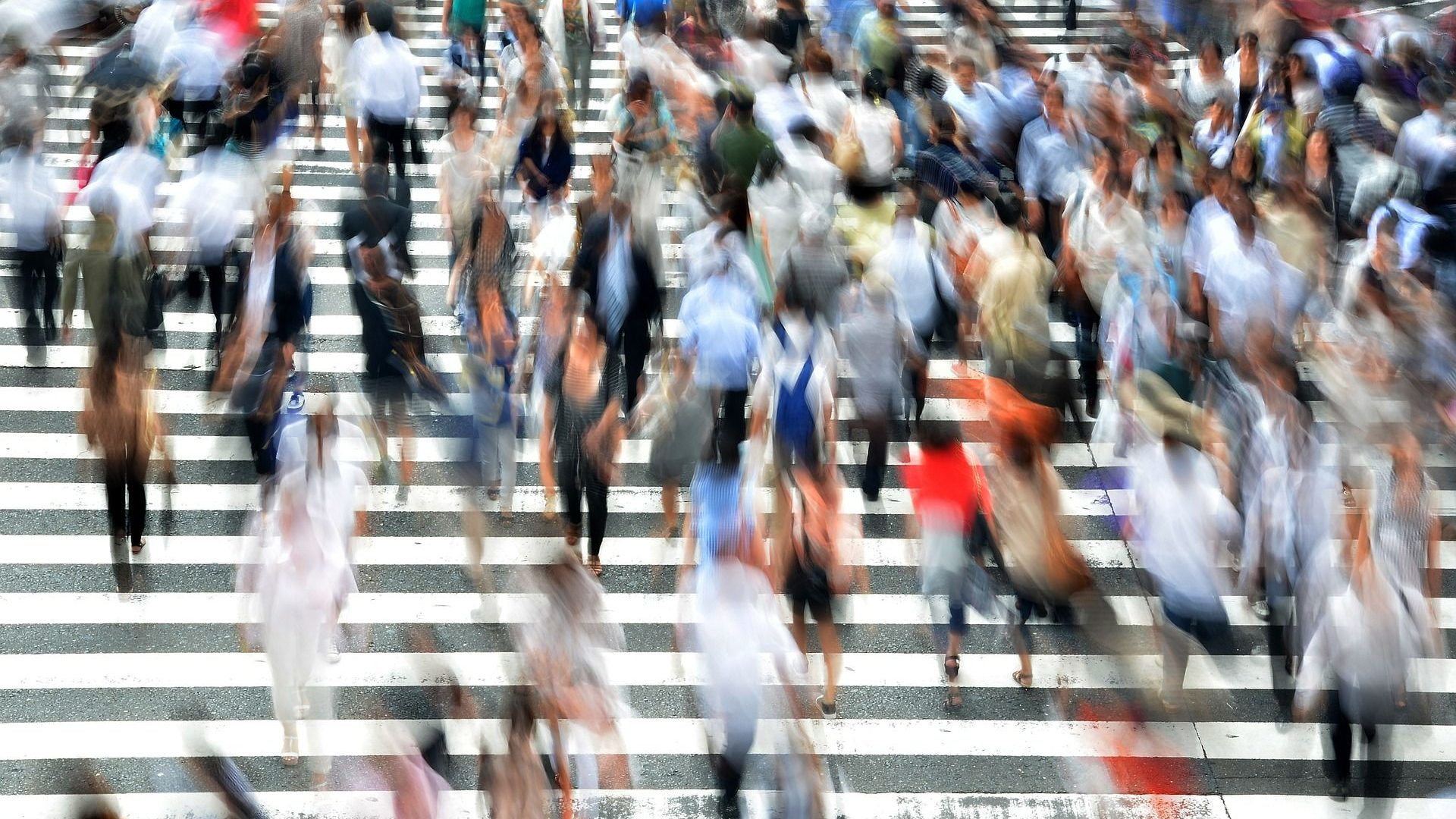Pedestrians on city crossing