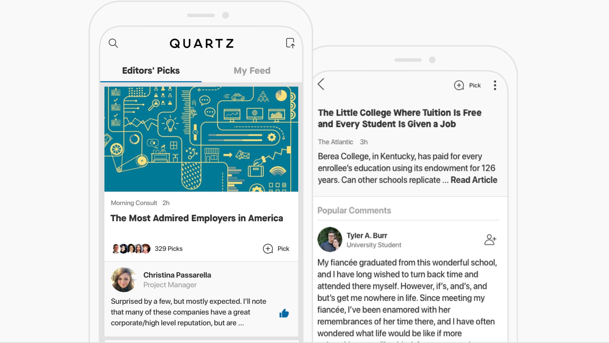 Screenshot of Quartz for iOS and Android