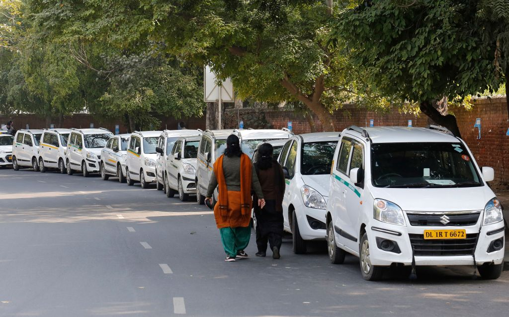 App-based taxi services drivers strike in New Delhi, India - 13 Feb 2017