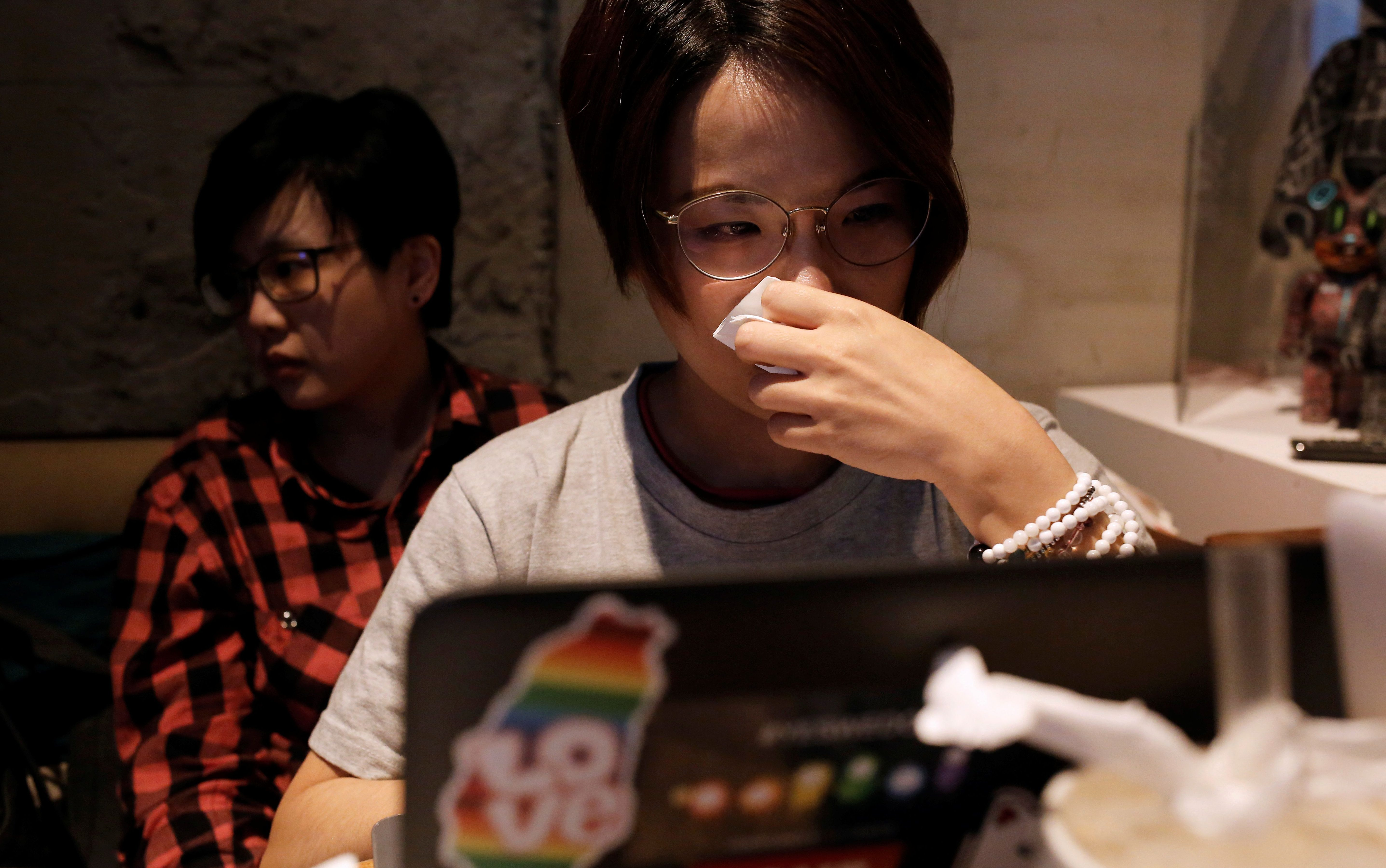 LGBT supporters cry after losing the referendum in Taipei, Taiwan November 24, 2018.