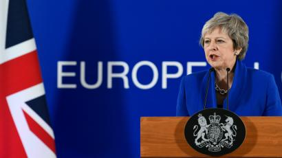 Britain's Prime Minister Theresa May attends a news conference after an extraordinary EU leaders summit