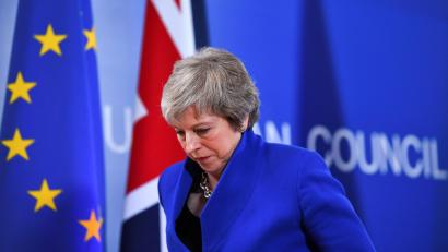 Britain's Prime Minister Theresa May leaves after a news conference following an extraordinary EU leaders summit to finalise and formalise the Brexit agreement in Brussels, Belgium November 25, 2018.