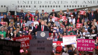 President Trump holds a campaign rally at Huntington Tri-State Airport in Huntington, West Virginia on November 2, 2018.
