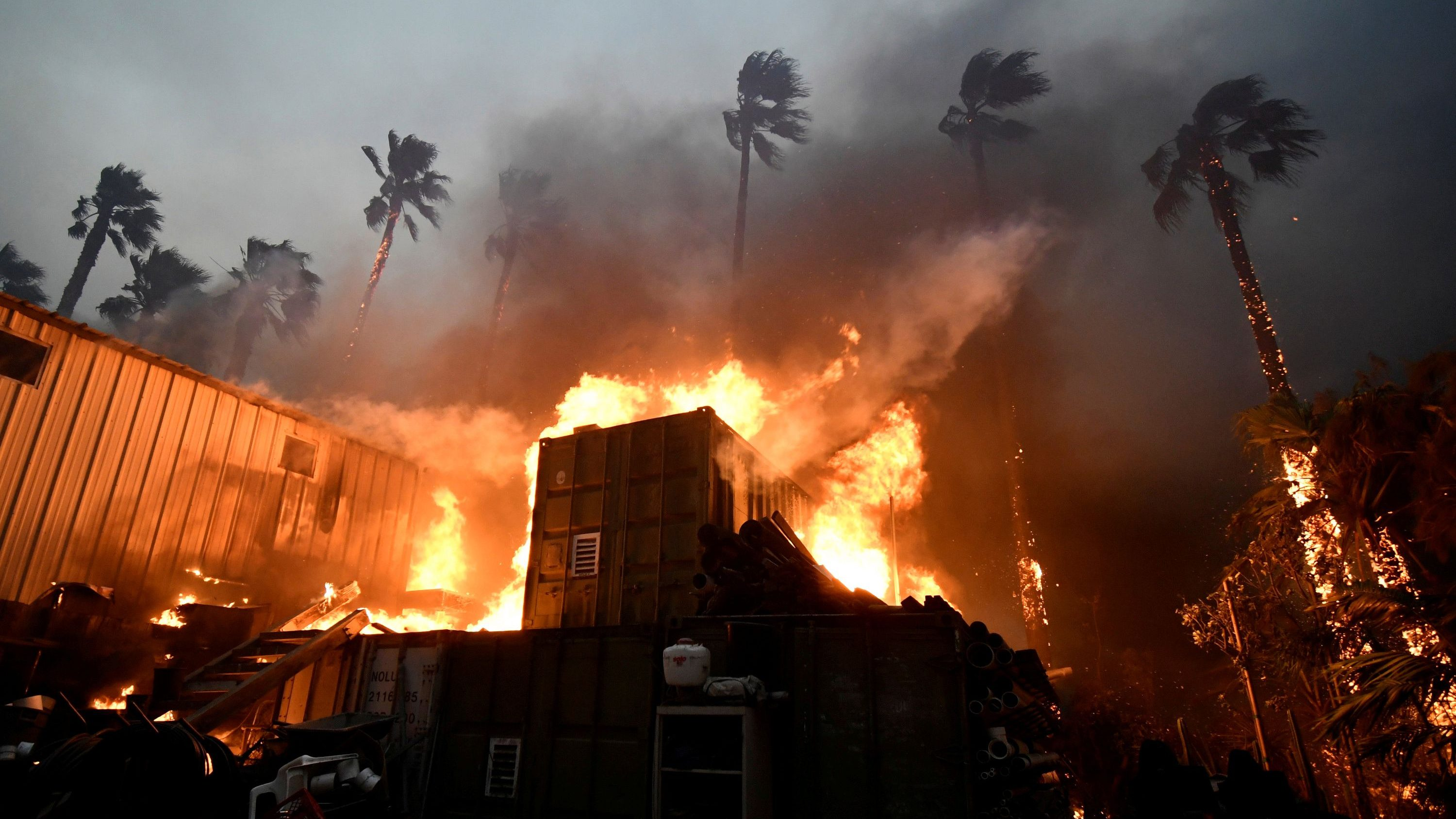 A home is engulfed in flames during the Woolsey Fire in Malibu, California, U.S. November 9, 2018.