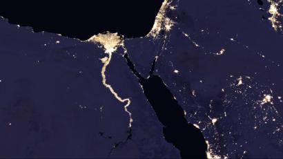 The Nile region and parts of the middle east, at night.