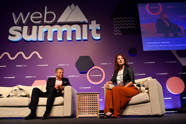 Western Union CEO on stage at Web Summit