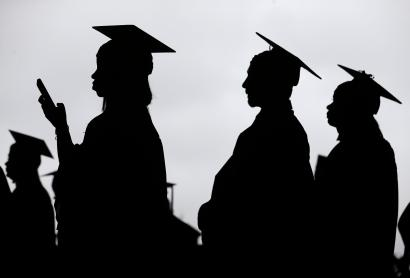 New graduates line up before the start of the Bergen Community College commencement at MetLife Stadium in East Rutherford, N.J., Thursday, May 17, 2018.