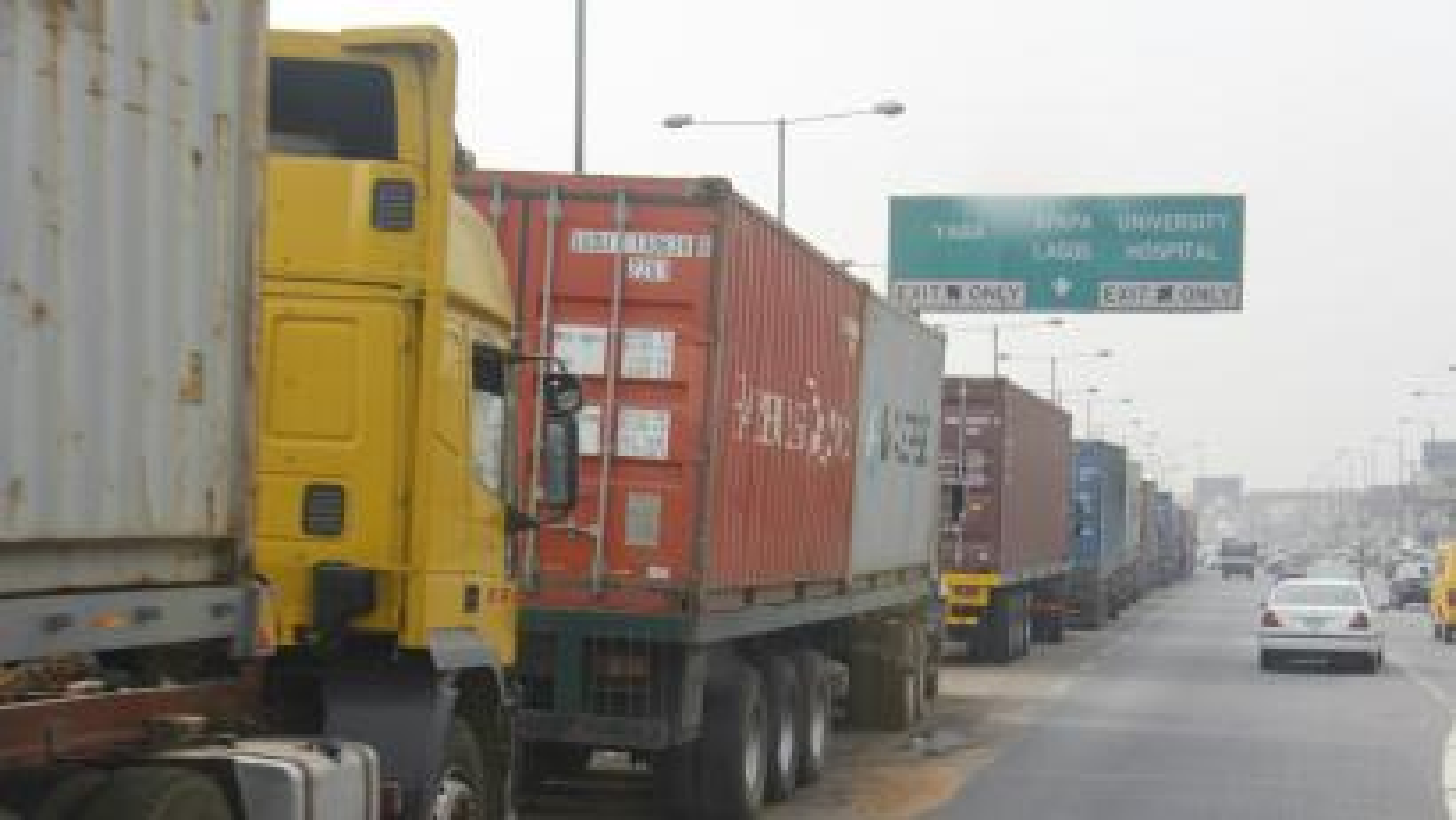 Truck queues heading into Apapa port, Lagos.