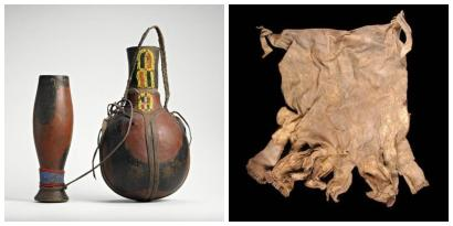 A gourd and goblet, plus a cape from Kenya