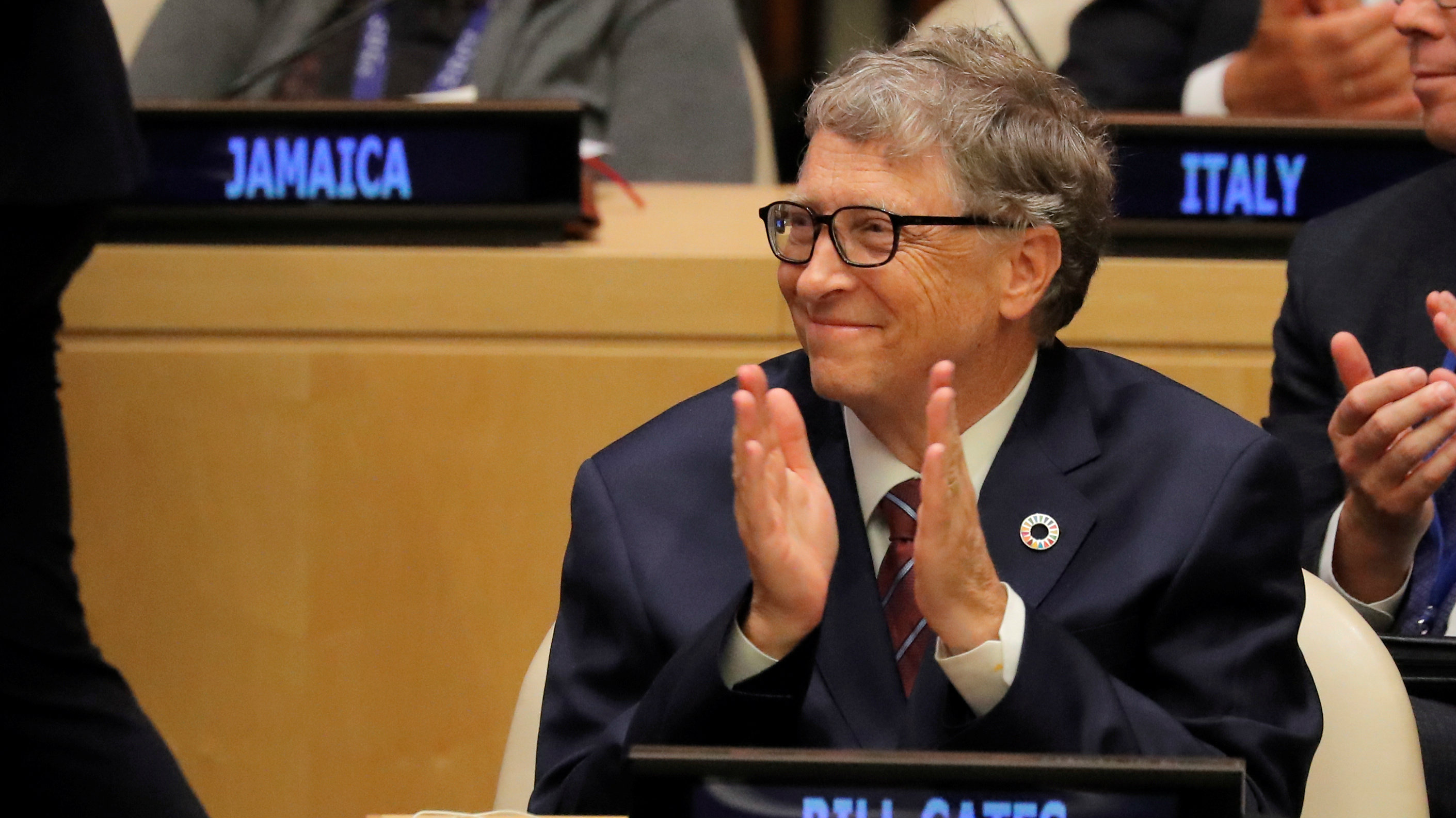 Microsoft Founder Bill Gates attends U.N. Secretary General Antonio Guterres' High-Level meeting on Financing during 73rd United Nations General Assembly in New York