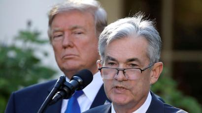 President Donald Trump looks on as Jerome Powell, his nominee to become chairman of the U.S. Federal Reserve, speaks at the White House in Washington, U.S., November 2, 2017.
