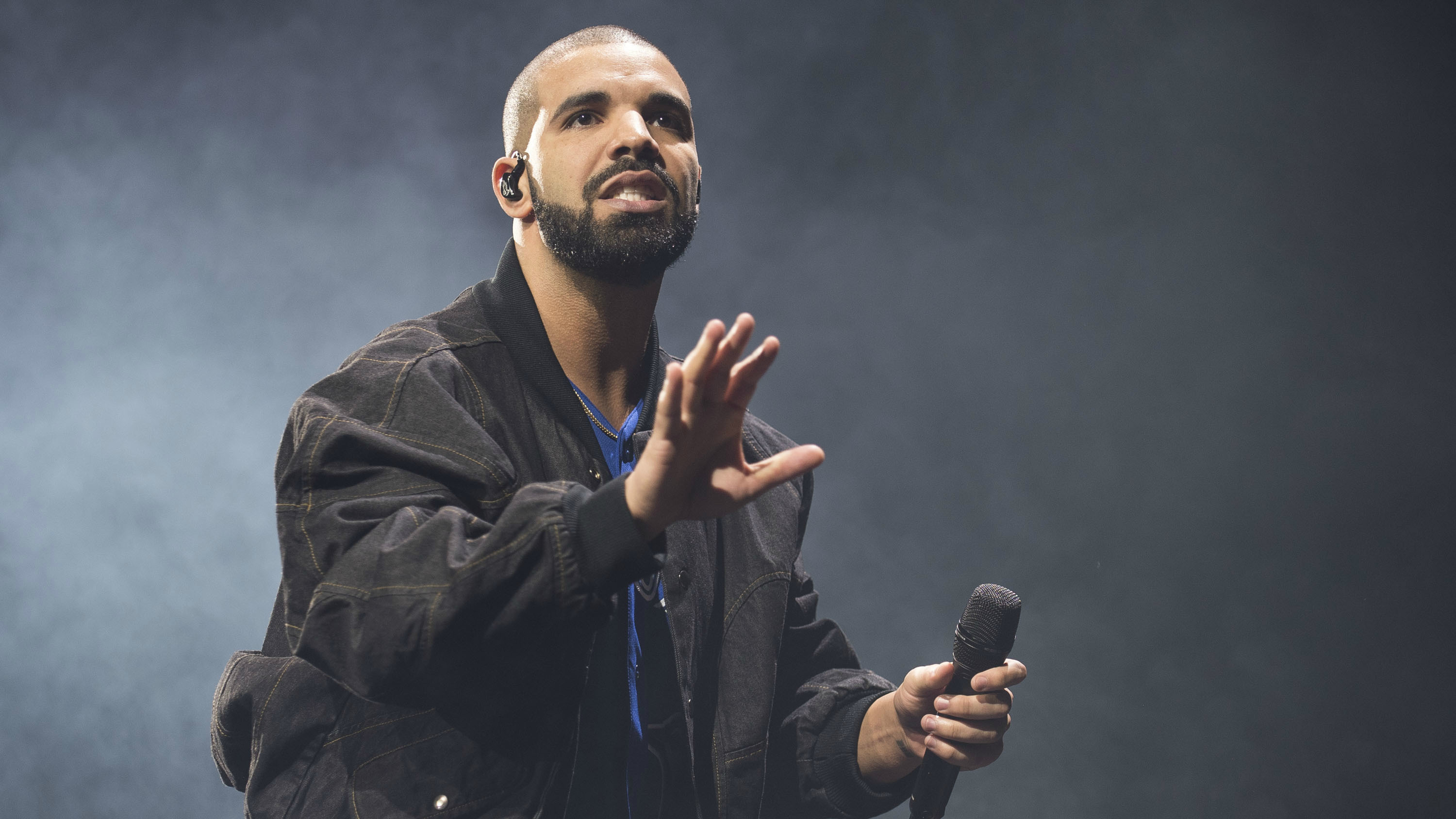 The musician Drake playing a concert