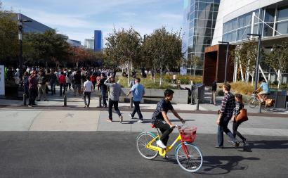 The Googleplex has fun colored bikes and a dismal caste system.
