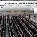 Newly-hired employees of Japan Airlines (JAL) group attend the company group's initiation ceremony at a hangar of Haneda airport in Tokyo, Japan, April 2, 2018.