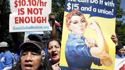 A protest for a higher minimum wage in the US.